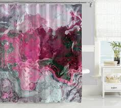 contemporary shower curtain with abstract art hot pink and gray raspberry
