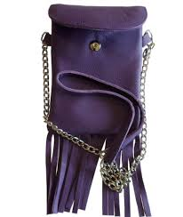 picture of leather cell phone purse with fringe purple