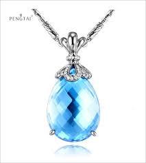 pengtai 15 44ct certified natural topaz pendant natural diamond 18k white gold blue gemstone pendant for