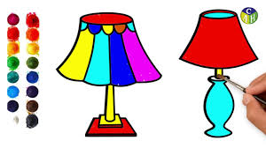 How To Draw Table Lamp Easy Steps For Kids Draw A Table Lamp Color Art