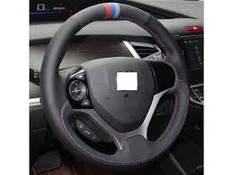 <b>Hand Sewing</b> Black <b>Genuine Leather</b> steering wheel cover for ...