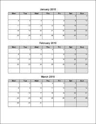 3 Month Calendar Template Word Calendar Template 2019