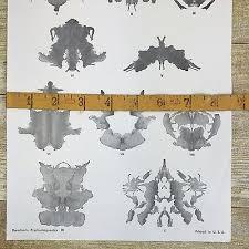 Vintage Rorschach Test 10 Miniature Inkblots Location Chart