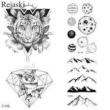 Us 042 10 Off25 Style Black Sketch 3d Tiger Tattoo Stickers Men Fashion Body Arm Art Hill Temporary Tattoo Women Geometric Fake Tatoo Diamond In