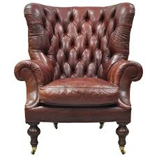 Wingback Chair Oversized Lillian August Brown Tufted Leather English Chesterfield