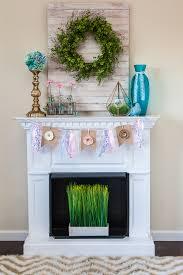 white fireplace mantel decor spring grass