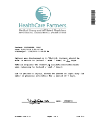 Fake Urgent Care Doctors Note Clinic Release Healthcare Partners In 2019 Fake Documents