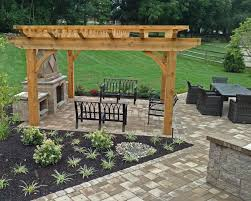 bloc patio, Pergola and Outdoor Fireplace