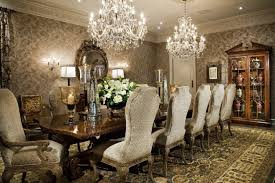 chandelier for dining room. Luxury Dining Room Decoration With Fantastic White Crystal Chandelier And Elegant Wallpaper For T