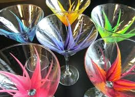colored martini glasses painted world of color glass waterford crystal