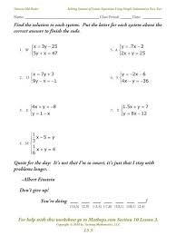 We usually want them to be independent so that we can solve for both variables. Solving Systems Of Equations Matching Worksheet Answer Key Tessshebaylo