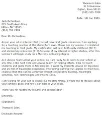 Resume Example Cover Letter Examples For Elementary Teachers