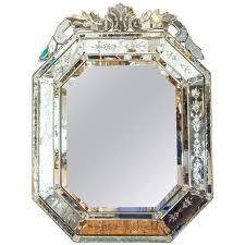 a venetian midcentury beveled wall mirror for