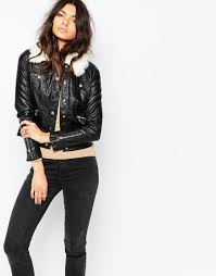river island leather look faux fur collar biker jacket