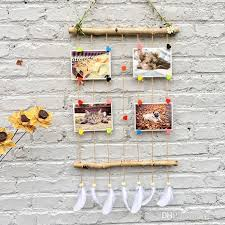 macrame wall hanging picture frames set collage photos display with wooden stick and rope pictures organizer with feathers wood picture photo frame hanging