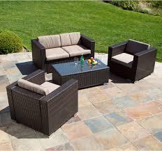 Westlake Brown Wicker 4pc Outdoor Sofa Set Modern Landscape