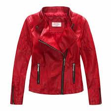 ljyh toddler big girls faux leather motorcycle moto biker jacket red 9 10 for