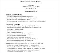 Secretarial Resume Template Church Secretary Resume Template