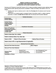 adverse event reporting form fillable online hfap medical board of california adverse event