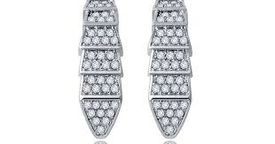 Personality Earring <b>Micro</b> Paved Cubic Zircon Crystal Scales clip ...
