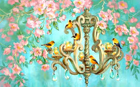 originalwide birds chandelier pink flowers wallpapers