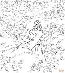 Jezus Bidt In De Hof Van Gethsemane Kleurplaat Gratis Kleurplaten