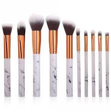 marble design handle makeup brushes set 10pcs