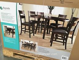 add the bayside furnishings 7 piece counter height round drop leaf dining set