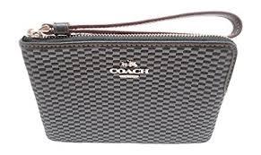 Coach Legacy Jacquard Corner Zip Small Wristlet Grey Black F13311