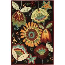 nourison folk flowers black 5 ft x 8 ft area rug