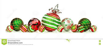 Christmas Ornaments Border Red Green And White Christmas Ornament Border Isolated On