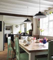 farm table lighting kitchen shabby chic style with wood table tiled floor rustic table