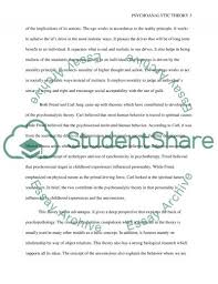 psychoanalytic theory essay example topics and well written text