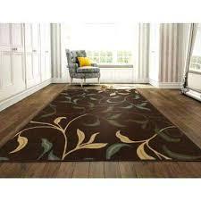 8 x 9 rug leaves design brown ft 2 in by
