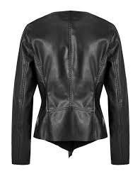 black open front faux leather jacket black hi res