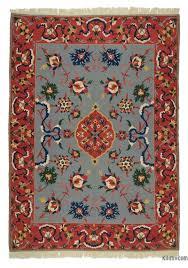 light blue red new turkish kilim rug