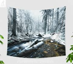 snowy forest tapestry forest wall tapestry forest wall tapestry nature wall hanging photography boho wall art dorm decor gift in