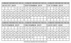 August September October November December January 2020 Calendar