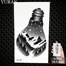Yuran Flash Creative Kids Temporary Tattoo Arm Stickers Black Snow Mountain Fake Children Face Children Tatoos Women Light Bulb