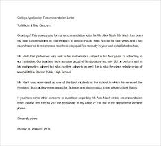 Sample College Reference Letters 15 College Recommendation Letters Pdf Word Sample Templates