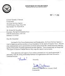 Air Force Letter Of Recommendation Magnificent Letters The Spirit Of America Tour