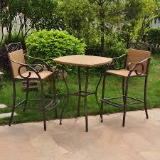 international caravan valencia 3 piece tan metal frame wicker patio dining set