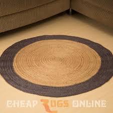 poly border 90cm round jute rug blue grey