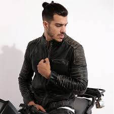 2018 men vintage black genuine leather biker jacket plus size xl real thick cowhide slim fit motorcycle coat free in genuine leather coats from