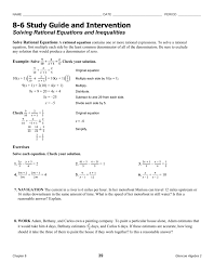 9 6 study guide and intervention solving rational equations