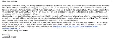 New York Amazon Sellers Reporting Sales Tax Email