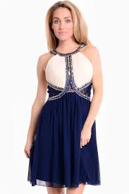 Lexis Embellished Chiffon Prom Dress in Navy and Nude