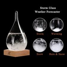 Storm Glass Weather Predictor Creative Crystal Glass Bottle Desktop Drops Craft Weather Station With Pure Wood Base High Class Decoration On Home