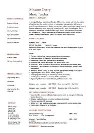 Resume Template Teacher Mesmerizing Music Teacher CV Template Job Description Resume Curriculum Vitae