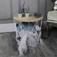white metal wire basket wooden top side